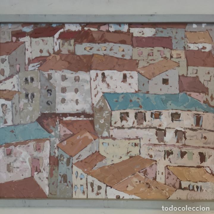 Arte: Bonito paisaje de colorido pueblo. Oleo a espátula. Firmado. Armesto. Siglo XIX-XX. - Foto 3 - 254433720