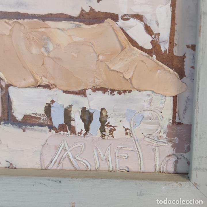 Arte: Bonito paisaje de colorido pueblo. Oleo a espátula. Firmado. Armesto. Siglo XIX-XX. - Foto 5 - 254433720