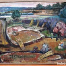 Arte: MONTSERRAT LLONCH GIMBERNAT (GIRONA, 1928 - 2000) OLEO SOBRE TELA TITULADO FINAL D'HIVERN. 90 X 130. Lote 254548455
