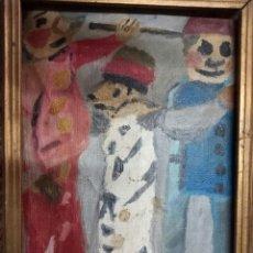 Arte: RARA Y ANTIGUA PINTURA MEDIADOS SIGLO MUÑECOS SUREALISMO OLEO EN LIENZO MUY INTERESANTE. Lote 116426847