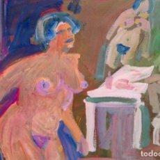 Arte: ANTONI MUNILL PUIG (BARCELONA, 1939 - 1977) OLEO SOBRE CARTON. ESCENA EROTICA. Lote 254667140