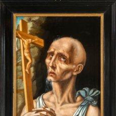 """Arte: ÓLEO SOBRE TABLA """"SAN JERÓNIMO"""" LUIS DE MORALES """"EL DIVINO""""(1510-1586) Y TALLER ESPAÑA SIGLO XVII. Lote 254731495"""