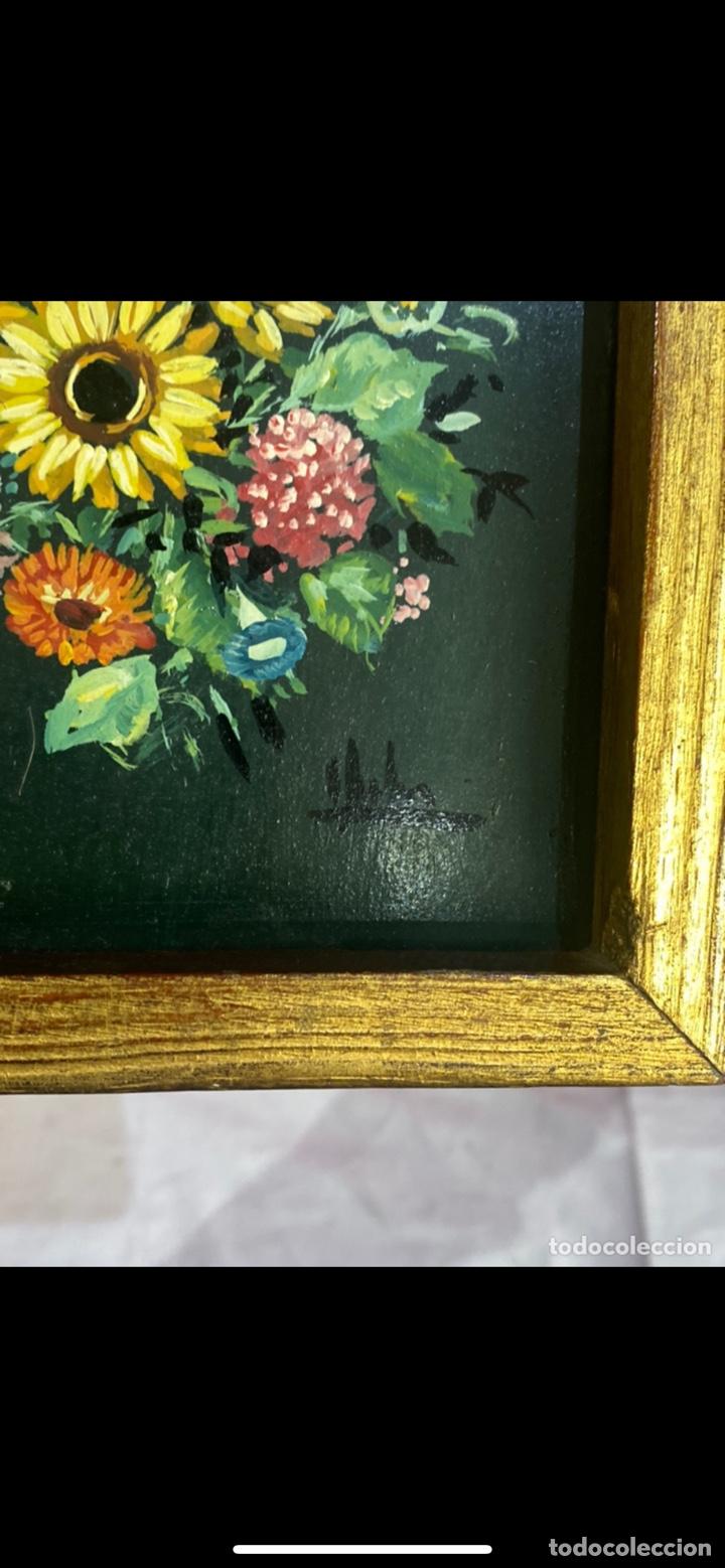 Arte: Pareja cuadros óleo sobre madera bodegones de flores firmados . Ver fotos - Foto 2 - 254744145