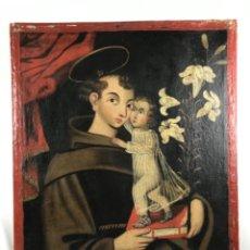 Arte: ESCUELA COLONIAL SG XVII. (93 X 80CM) ÓLEO LIENZO SAN ANTONIO CON NIÑO. VIRREINATO NUEVO MEXICO.. Lote 254789295
