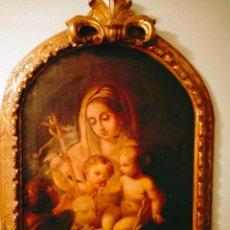 Arte: VIRGEN CON EL NIÑO JESÚS Y SAN JUANITO SIGLO XVIII. . ÓLEO LIENZO. Lote 251855830
