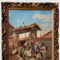 Arte: ANTIGUO ÓLEO, CUADRO CON ESCENA COSTUMBRISTA Y MARCO DORADO.45X34. S. XIX. Lote 254833940