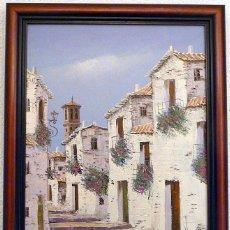 Arte: PUEBLO BLANCO DE MARBELLA - OLEO SOBRE LIENZO - FIRMADO - FINALES DE LOS AÑOS 80 - NUEVO. Lote 254839605
