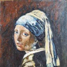 Arte: D'APRES JOHANNES VERMEER (1632-1675) PINTOR HOLANDES - ÓLEO SOBRE HARDBOARD.. Lote 254841280