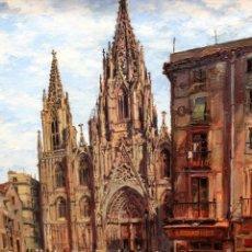 Arte: RAMÓN LOPEZ MUÑOZ -LOPEZ RAMON- (BARCELONA, 1905-1983) OLEO TELA DEL 1942. CATEDRAL DE BARCELONA. Lote 254858780