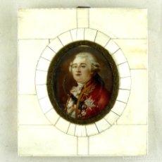 Arte: RETRATO MINIATURA AL OLEO SOBRE CELULOIDE DE LUIS XVI (6.5X5.5CM) - MARCO (10X12CM) DE ÉPOCA. Lote 254889130