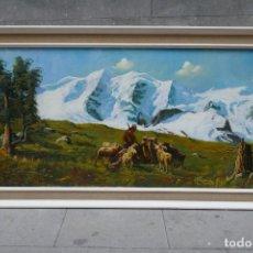 Arte: PRECIOSO GRAN CUADRO DE UN PASTOR CON CABRAS EN MONTAÑA. FIRMADO - 145 X 75 CM.. Lote 255521450