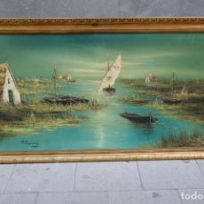 Arte: PRECIOSO GRAN CUADRO DE BARCOS EN UN LAGO. 164,5 X 90 / FIRMADO.. Lote 255523310