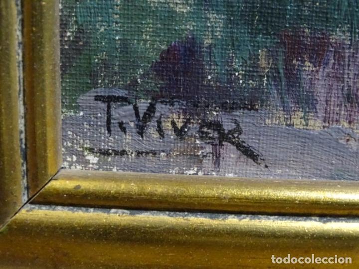 Arte: EXCELENTE ÓLEO SOBRE TABLEX DE TOMÀS VIVER AYMERICH. PINTOR DE TERRASSA. - Foto 13 - 255645945