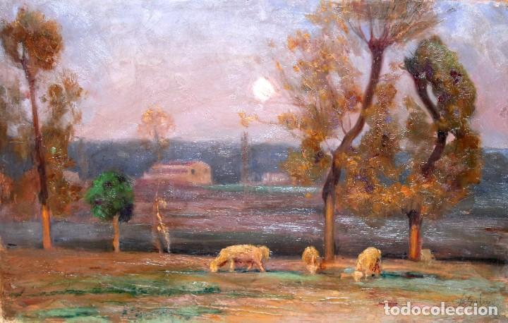 ENRIC GALWEY GARCÍA (1861-1931) OLEO SOBRE CARTON. PAISAJE TITULADO VALLS (Arte - Pintura - Pintura al Óleo Contemporánea )