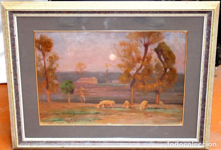 Arte: ENRIC GALWEY GARCÍA (1861-1931) OLEO SOBRE CARTON. PAISAJE TITULADO VALLS - Foto 2 - 255919685