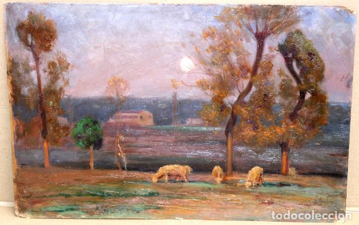 Arte: ENRIC GALWEY GARCÍA (1861-1931) OLEO SOBRE CARTON. PAISAJE TITULADO VALLS - Foto 4 - 255919685