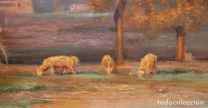 Arte: ENRIC GALWEY GARCÍA (1861-1931) OLEO SOBRE CARTON. PAISAJE TITULADO VALLS - Foto 7 - 255919685