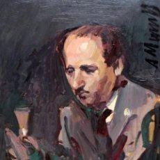 Arte: ANTONI MUNILL PUIG (BARCELONA, 1939 - 1977) OLEO SOBRE CARTON..RETRATO MASCULINO. Lote 255923620