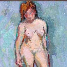 Arte: CARME ESPEL VIVES (BARCELONA, 1926 - 2021) OLEO SOBRE TELA. DESNUDO FEMENINO. Lote 255924375