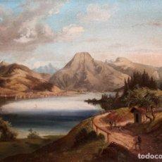 Arte: ANONIMO DE LA PRIMERA MITAD DEL SIGLO XIX. OLEO SOBRE TELA. PAISAJE CON FIGURAS. Lote 255924910
