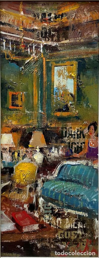 JOSEP COSTA VILA - INTERIOR VERT - 20 X 50 CM. (Arte - Pintura - Pintura al Óleo Contemporánea )