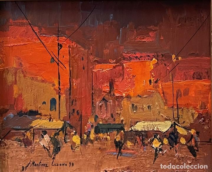 JOSEP MARIA MARTINEZ LOZANO - OLEO - VISTA DE UN MERCADO - 21 X 26 CM. (Arte - Pintura - Pintura al Óleo Contemporánea )