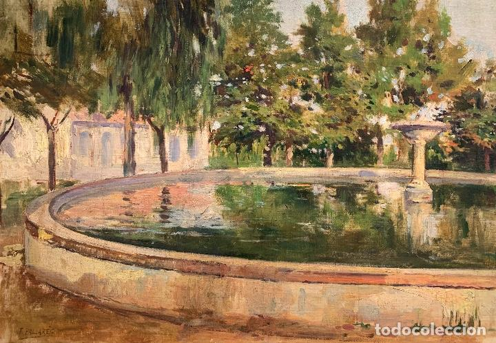 JOAQUÍN PALLARÉS ALLUSTANTE (1853-1935) JARDÍN (Arte - Pintura - Pintura al Óleo Moderna siglo XIX)