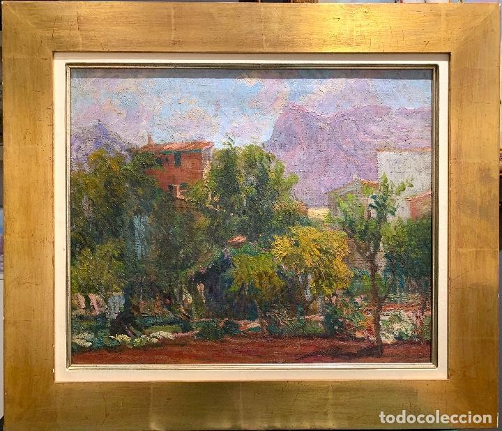 Arte: Joan Colom Agustí (1879-1869) Jardín - Mallorca. Óleo sobre lienzo - Foto 2 - 256017075