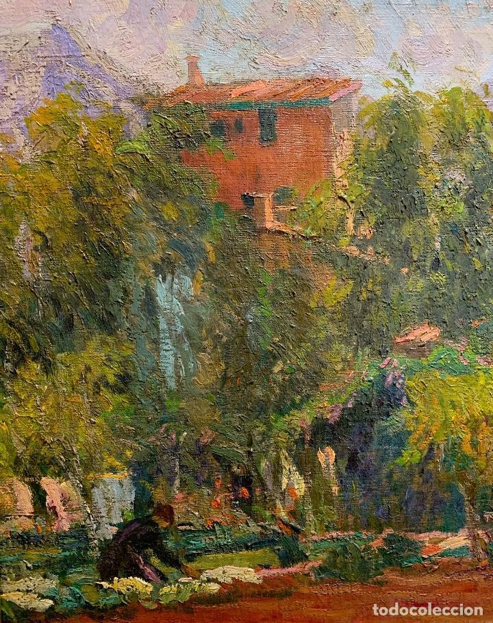 Arte: Joan Colom Agustí (1879-1869) Jardín - Mallorca. Óleo sobre lienzo - Foto 3 - 256017075