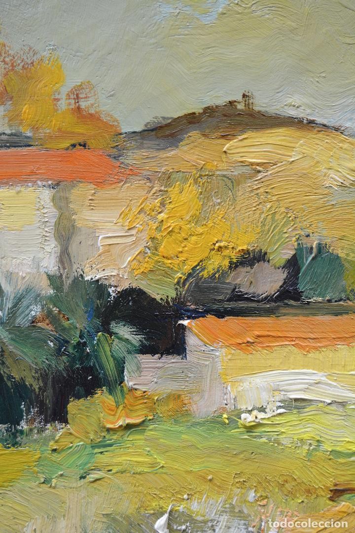 Arte: Paisaje con montañas y casas, pintura al óleo sobre tela, firma ilegible, con marco. 90,5x71,5cm - Foto 2 - 256132035