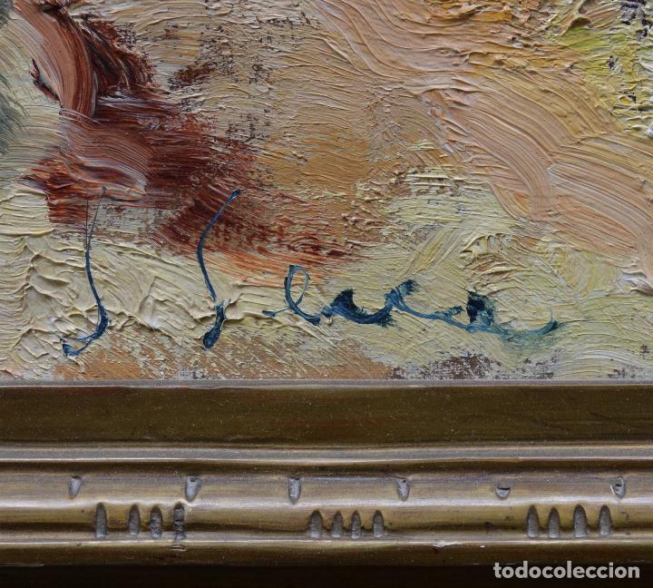 Arte: Paisaje con montañas y casas, pintura al óleo sobre tela, firma ilegible, con marco. 90,5x71,5cm - Foto 3 - 256132035