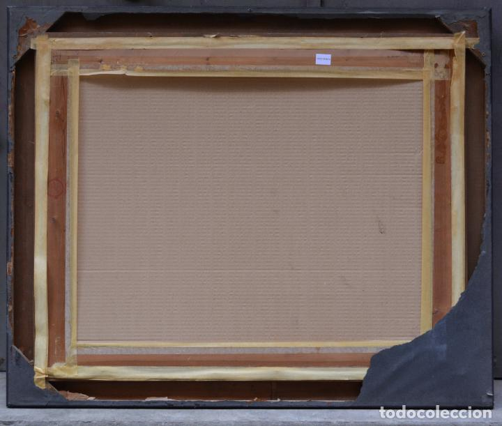 Arte: Paisaje con montañas y casas, pintura al óleo sobre tela, firma ilegible, con marco. 90,5x71,5cm - Foto 4 - 256132035
