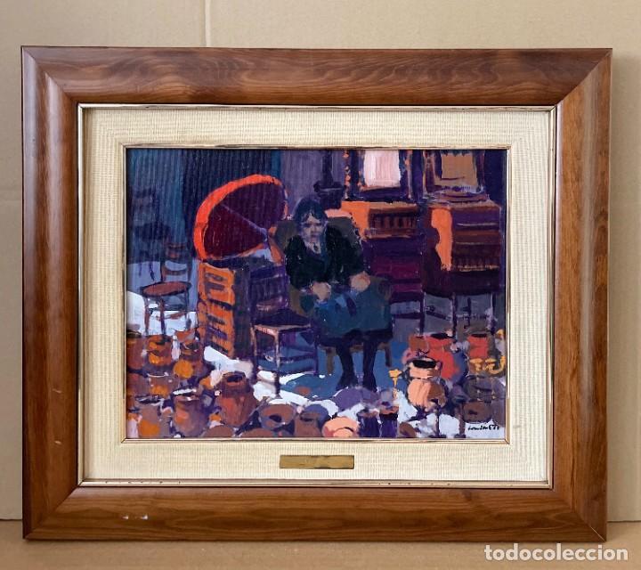 Arte: RAMÓN LOMBARTE: Barcelona 1956 - VENDEDORA DE LOS ENCANTES - OLEO LIENZO. - Foto 2 - 256148475