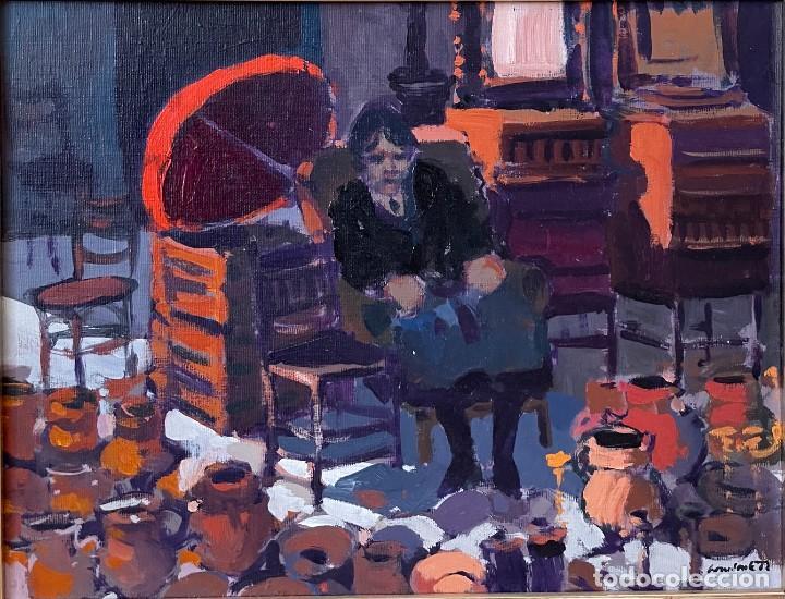 RAMÓN LOMBARTE: BARCELONA 1956 - VENDEDORA DE LOS ENCANTES - OLEO LIENZO. (Arte - Pintura - Pintura al Óleo Contemporánea )