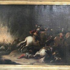 Arte: ESCUELA ITALIANA DEL SIGLO XVIII. ESCENA DE BATALLA. ÓLEO SOBRE LIENZO. - CON MARCO - 56,8 X 68,7 CM. Lote 256165030