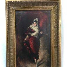 """Arte: ESCUELA CATALANA DE FINALES DEL SIGLO XIX. UNA JOVEN. FIRMADO """"BENITO BELLI"""" Y FECHADO EN 1885.. Lote 256167100"""