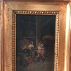 """Arte: ESCUELA ESPAÑOLA DEL SIGLO XIX. TALLER DE UN VIDRIERO. FIRMADO """"LUCAS"""". ÓLEO SOBRE LIENZO EN TABLA.. Lote 256168405"""