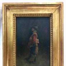 "Arte: ESCUELA ESPAÑOLA DEL SIGLO XIX. CABALLERO. FIRMADO ""J. PÉREZ"". ÓLEO SOBRE TABLA.. Lote 256169570"