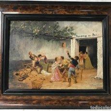 """Arte: ESCUELA ESPAÑOLA DEL SIGLO XIX. ESCENA DE TABERNA """"POSADA DE LA PAZ"""". ÓLEO SOBRE TABLA.. Lote 256170045"""