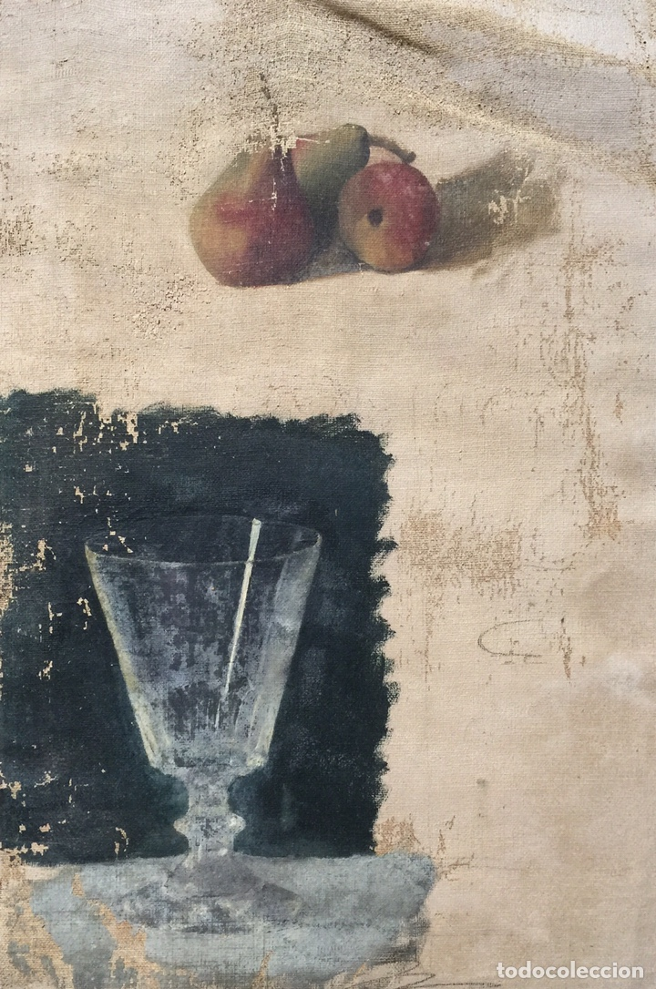 Arte: Bodegón, peras y copa, estudio preparatorio, 1920's, óleo sobre tela, sin firma, con marco. - Foto 2 - 257267940