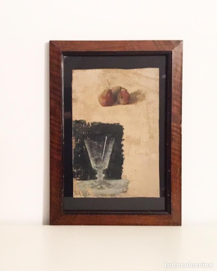 BODEGÓN, PERAS Y COPA, ESTUDIO PREPARATORIO, 1920'S, ÓLEO SOBRE TELA, SIN FIRMA, CON MARCO. (Arte - Pintura - Pintura al Óleo Contemporánea )