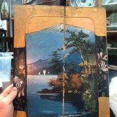 Arte: ANTIGUA PINTURA SOBRE TABLA ESTILO ORIENTAL - MEDIDA 45,5X31,5 CM. Lote 257286315