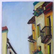 Arte: SERRA ANSON JOAN ESCUELA CATALANA OLEO PUEBLO PONTS LLEIDA LERIDA CALLE FRANCIA DE FRANÇA FLORES. Lote 257293165