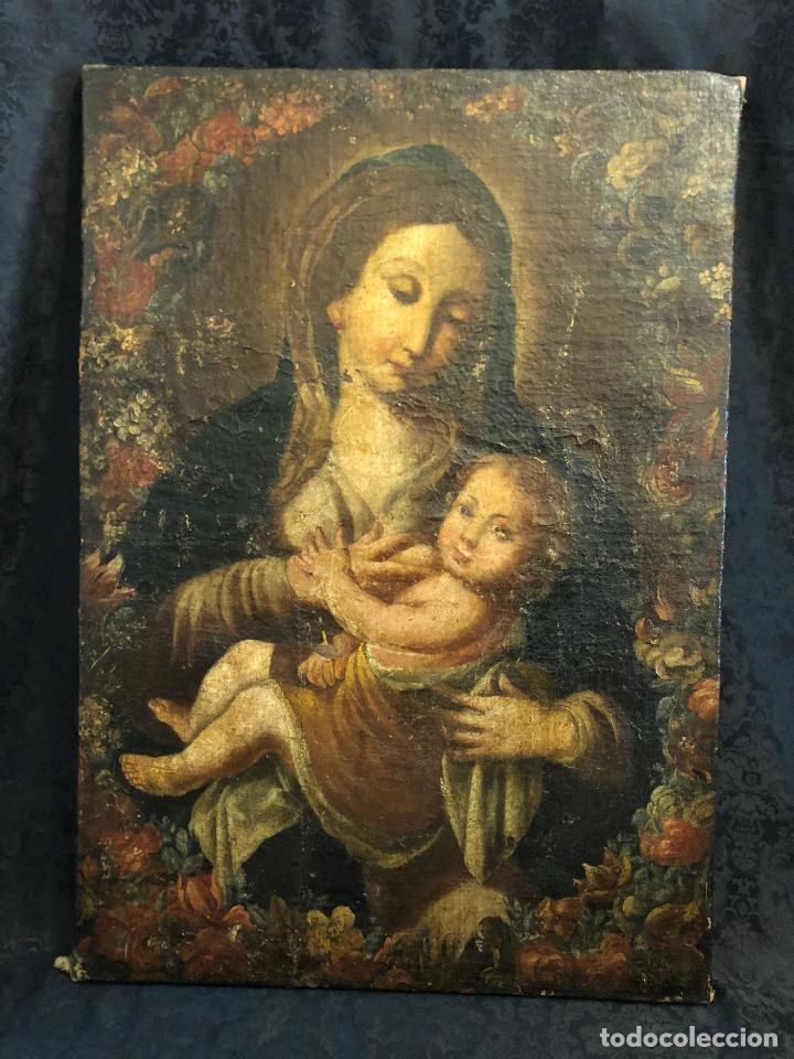 MUY ANTIGUO ÓLEO SOBRE LIENZO VIRGEN DANDO EL PECHO AL NIÑO JESUS (Arte - Pintura - Pintura al Óleo Antigua siglo XVII)