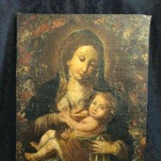 Arte: MUY ANTIGUO ÓLEO SOBRE LIENZO VIRGEN DANDO EL PECHO AL NIÑO JESUS. Lote 257454665
