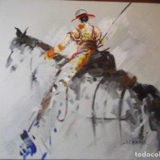 Arte: MAGNIFICO ÓLEO JINETE PICADOR DE TOROS , 61 X 50 CM. Lote 257603890