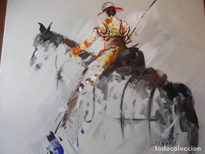 Arte: Magnifico óleo jinete Picador de toros , 61 x 50 cm - Foto 2 - 257603890