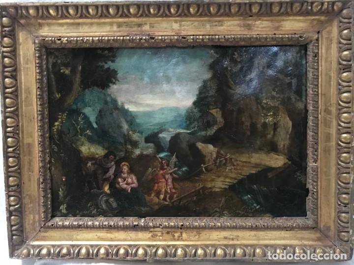 ESCUELA FLAMENCA DEL SIGLO XVII. DESCANSO EN LA HUIDA A EGIPTO. ÓLEO SOBRE COBRE. FIRMA ILEGIBLE DEB (Arte - Pintura - Pintura al Óleo Antigua siglo XVII)