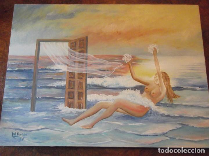 OLEO COLECCIÓN PRIVADA , ARTE MODERNO SOBRE LIENZO DEL ARTISTA M. BUENO 72X 54 SIGLO PASADO (Arte - Pintura - Pintura al Óleo Moderna sin fecha definida)