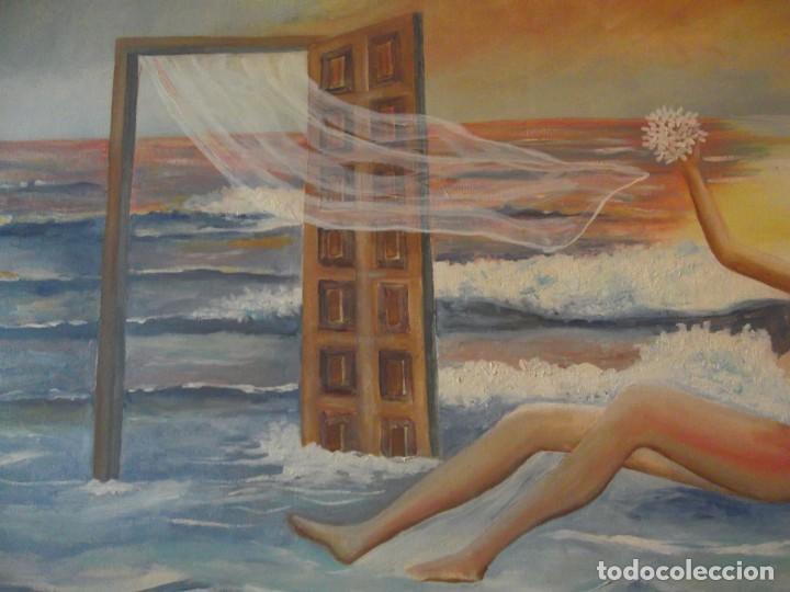 Arte: Oleo Colección privada , arte moderno sobre lienzo del Artista M. Bueno 72x 54 siglo pasado - Foto 2 - 257655410